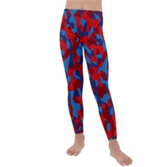 Red And Blue Camouflage Pattern Kids  Lightweight Velour Leggings