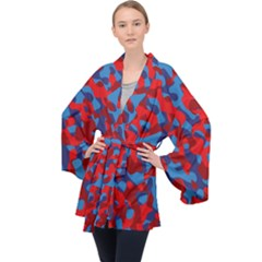 Red And Blue Camouflage Pattern Long Sleeve Velvet Kimono  by SpinnyChairDesigns
