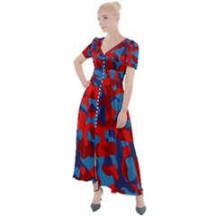 Red And Blue Camouflage Pattern Button Up Short Sleeve Maxi Dress