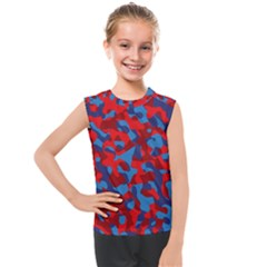 Red And Blue Camouflage Pattern Kids  Mesh Tank Top by SpinnyChairDesigns