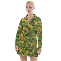 Yellow Green Brown Camouflage Women s Long Sleeve Casual Dress