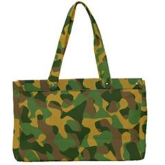 Yellow Green Brown Camouflage Canvas Work Bag by SpinnyChairDesigns