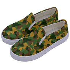 Yellow Green Brown Camouflage Kids  Canvas Slip Ons by SpinnyChairDesigns