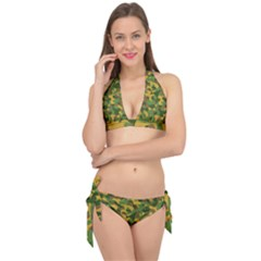 Yellow Green Brown Camouflage Tie It Up Bikini Set by SpinnyChairDesigns