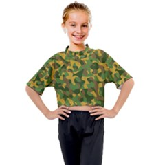 Yellow Green Brown Camouflage Kids Mock Neck Tee