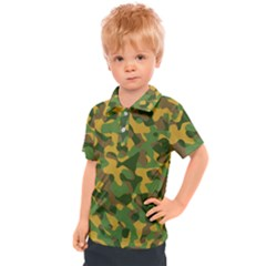Yellow Green Brown Camouflage Kids  Polo Tee