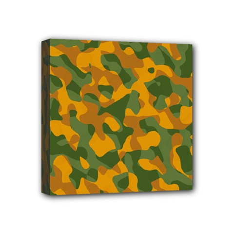Green And Orange Camouflage Pattern Mini Canvas 4  X 4  (stretched) by SpinnyChairDesigns