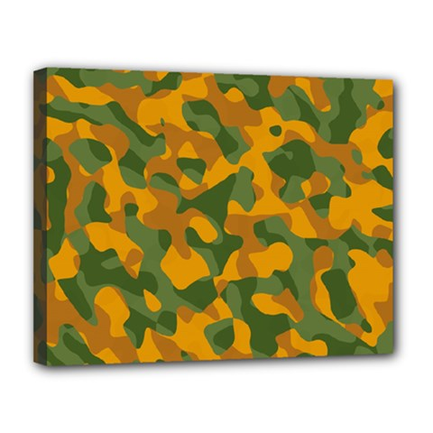 Green And Orange Camouflage Pattern Canvas 14  X 11  (stretched)
