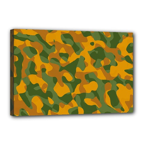 Green And Orange Camouflage Pattern Canvas 18  X 12  (stretched) by SpinnyChairDesigns