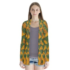 Green And Orange Camouflage Pattern Drape Collar Cardigan by SpinnyChairDesigns