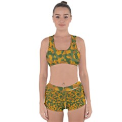 Green And Orange Camouflage Pattern Racerback Boyleg Bikini Set by SpinnyChairDesigns