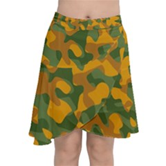 Green And Orange Camouflage Pattern Chiffon Wrap Front Skirt by SpinnyChairDesigns
