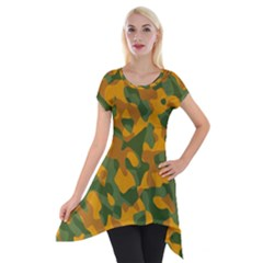 Green And Orange Camouflage Pattern Short Sleeve Side Drop Tunic by SpinnyChairDesigns