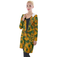Green And Orange Camouflage Pattern Hooded Pocket Cardigan by SpinnyChairDesigns