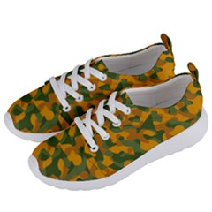 Green And Orange Camouflage Pattern Women s Lightweight Sports Shoes by SpinnyChairDesigns
