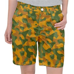 Green And Orange Camouflage Pattern Pocket Shorts by SpinnyChairDesigns