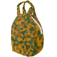 Green And Orange Camouflage Pattern Travel Backpacks
