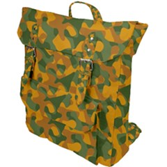 Green And Orange Camouflage Pattern Buckle Up Backpack by SpinnyChairDesigns