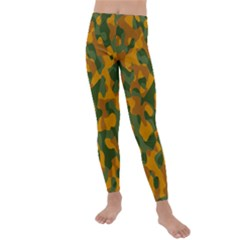 Green And Orange Camouflage Pattern Kids  Lightweight Velour Leggings