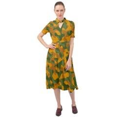 Green And Orange Camouflage Pattern Keyhole Neckline Chiffon Dress by SpinnyChairDesigns