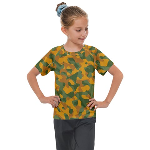 Green And Orange Camouflage Pattern Kids  Mesh Piece Tee by SpinnyChairDesigns