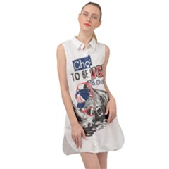 Choose To Be Tough & Chill Sleeveless Shirt Dress by allthingseveryday