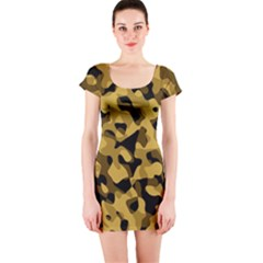 Black Yellow Brown Camouflage Pattern Short Sleeve Bodycon Dress by SpinnyChairDesigns