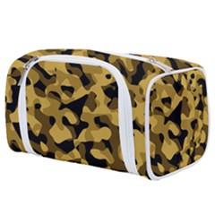Black Yellow Brown Camouflage Pattern Toiletries Pouch by SpinnyChairDesigns