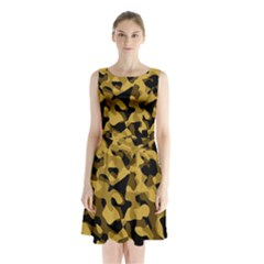 Black Yellow Brown Camouflage Pattern Sleeveless Waist Tie Chiffon Dress by SpinnyChairDesigns