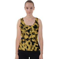 Black Yellow Brown Camouflage Pattern Velvet Tank Top