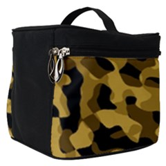 Black Yellow Brown Camouflage Pattern Make Up Travel Bag (small) by SpinnyChairDesigns