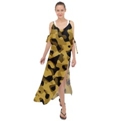 Black Yellow Brown Camouflage Pattern Maxi Chiffon Cover Up Dress