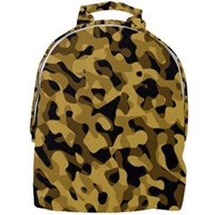 Black Yellow Brown Camouflage Pattern Mini Full Print Backpack by SpinnyChairDesigns