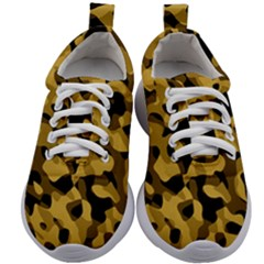 Black Yellow Brown Camouflage Pattern Kids Athletic Shoes