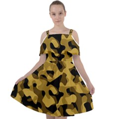 Black Yellow Brown Camouflage Pattern Cut Out Shoulders Chiffon Dress by SpinnyChairDesigns