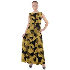 Black Yellow Brown Camouflage Pattern Chiffon Mesh Boho Maxi Dress by SpinnyChairDesigns