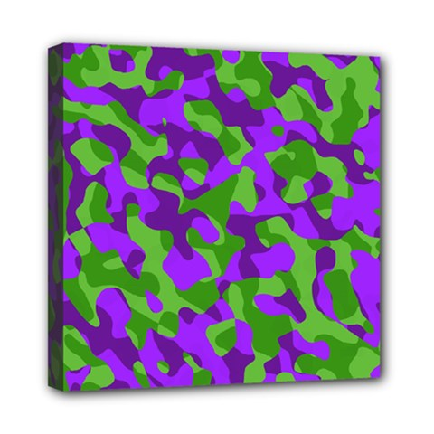 Purple And Green Camouflage Mini Canvas 8  X 8  (stretched) by SpinnyChairDesigns