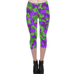 Purple And Green Camouflage Capri Leggings  by SpinnyChairDesigns