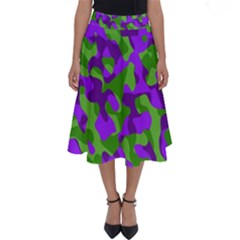 Purple And Green Camouflage Perfect Length Midi Skirt