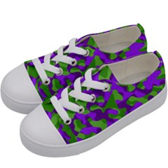 Purple And Green Camouflage Kids  Low Top Canvas Sneakers by SpinnyChairDesigns