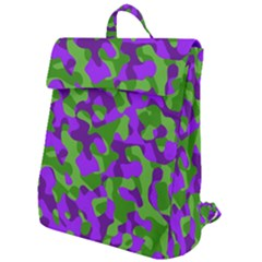 Purple And Green Camouflage Flap Top Backpack by SpinnyChairDesigns