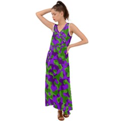 Purple And Green Camouflage V-neck Chiffon Maxi Dress by SpinnyChairDesigns