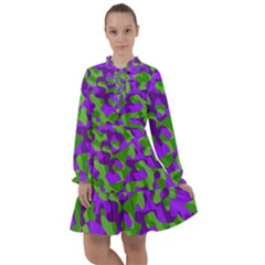 Purple And Green Camouflage All Frills Chiffon Dress by SpinnyChairDesigns
