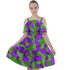 Purple And Green Camouflage Cut Out Shoulders Chiffon Dress