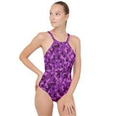 Dark Purple Camouflage Pattern High Neck One Piece Swimsuit by SpinnyChairDesigns