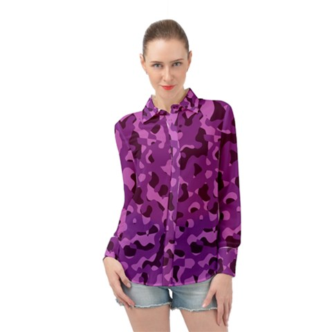 Dark Purple Camouflage Pattern Long Sleeve Chiffon Shirt by SpinnyChairDesigns