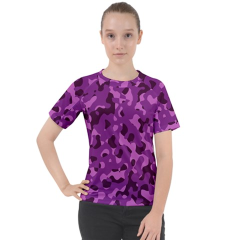 Dark Purple Camouflage Pattern Women s Sport Raglan Tee by SpinnyChairDesigns