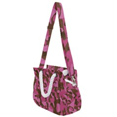 Pink And Brown Camouflage Rope Handles Shoulder Strap Bag by SpinnyChairDesigns