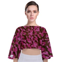 Pink And Brown Camouflage Tie Back Butterfly Sleeve Chiffon Top