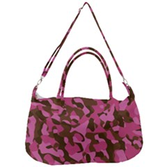 Pink And Brown Camouflage Removal Strap Handbag by SpinnyChairDesigns